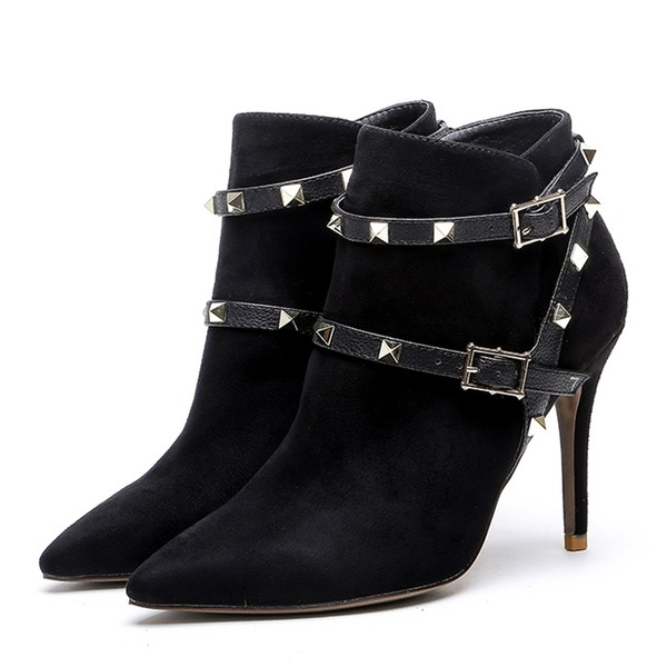 Women's Suede Stiletto Heel Pumps Closed Toe Ankle Boots With Rivet Buckle shoes