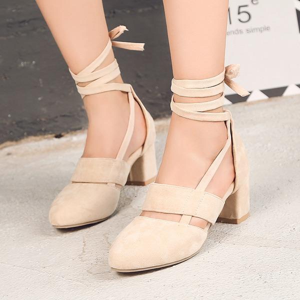Frauen Veloursleder Stämmiger Absatz Sandalen mit Zuschnüren Schuhe
