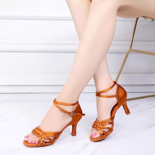 Women's Satin Heels Latin Swing Dance Shoes
