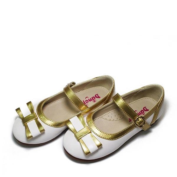 Fille de similicuir talon plat bout rond Chaussures plates avec Bowknot Velcro