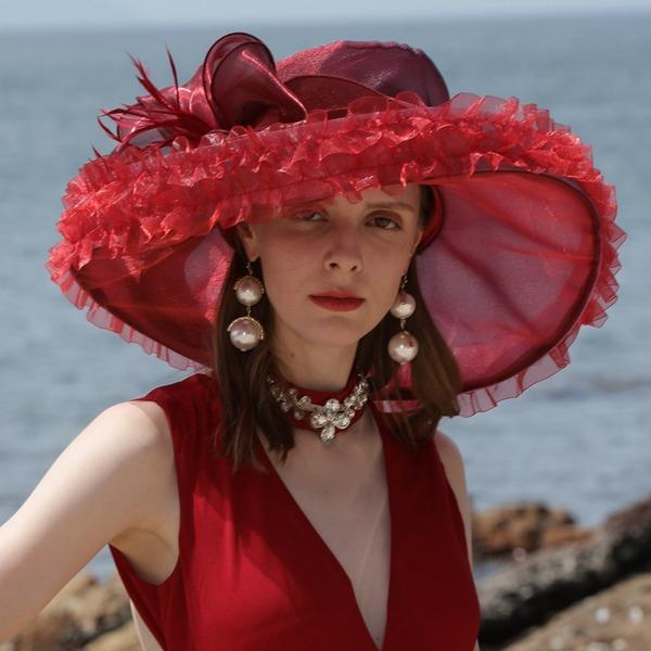Ladies ' Uroczy Organza Z Pióro Floppy Hat/Kapelusze Kentucky Derby/Czapki Tea Party