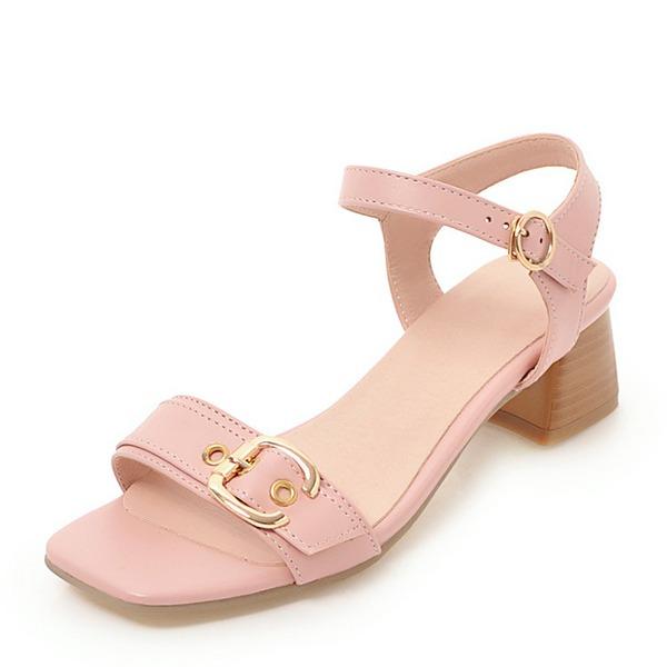 Vrouwen PU Chunky Heel Sandalen Pumps Peep Toe Slingbacks met Gesp schoenen