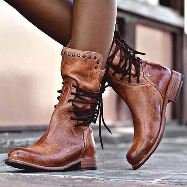 Женщины кожа Низкий каблук Ботинки с заклепки Шнуровка обувь