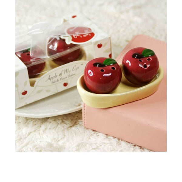 """""""Apple Of My Eye"""" Ceramic With Ribbons (Set of 2)"""