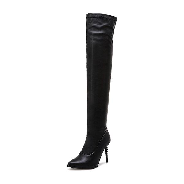 Kadın Suni deri İnce Topuk Pompalar Bot Diz Boots fazla ayakkabı