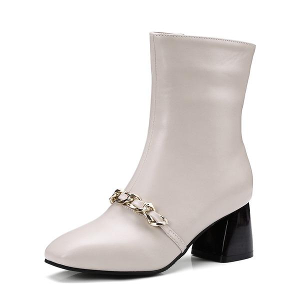 Femmes PU Talon bottier Escarpins Bout fermé Bottes mi-mollets avec Zip Chaîne chaussures