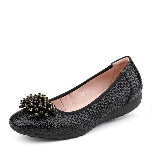Kvinner Egte Lær Flat Hæl Flate sko Lukket Tå sko