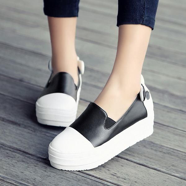 Women's Leatherette Wedge Heel Wedges With Split Joint shoes