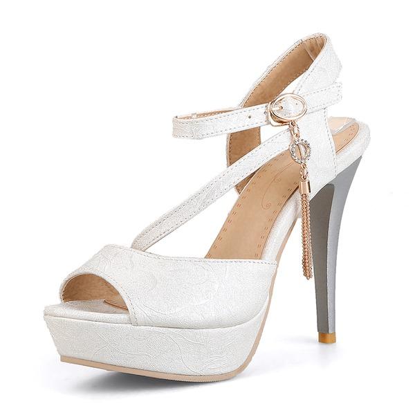 Mulheres Couro Salto agulha Sandálias Plataforma Peep toe com Fivela sapatos