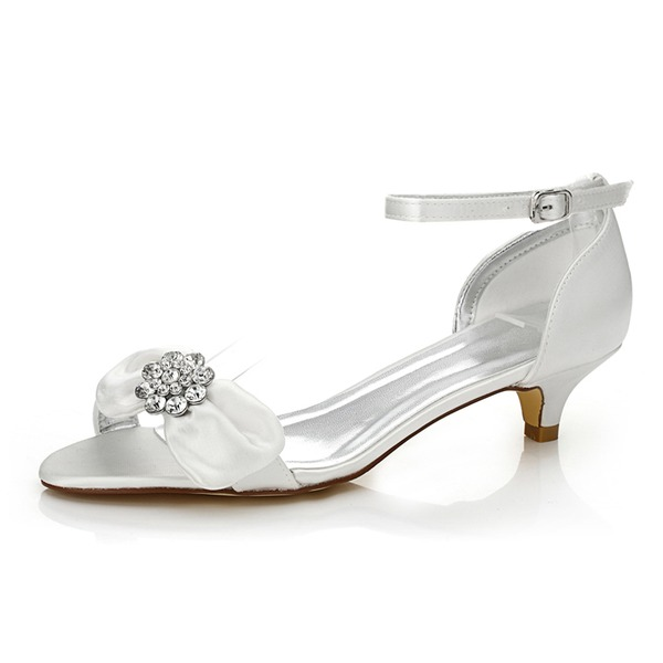 Mulheres Cetim Salto baixo Sandálias Sapatos Tingíveis com Bowknot Strass
