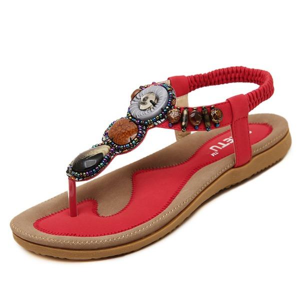 Vrouwen Kunstleer Flat Heel Sandalen met Kralen schoenen