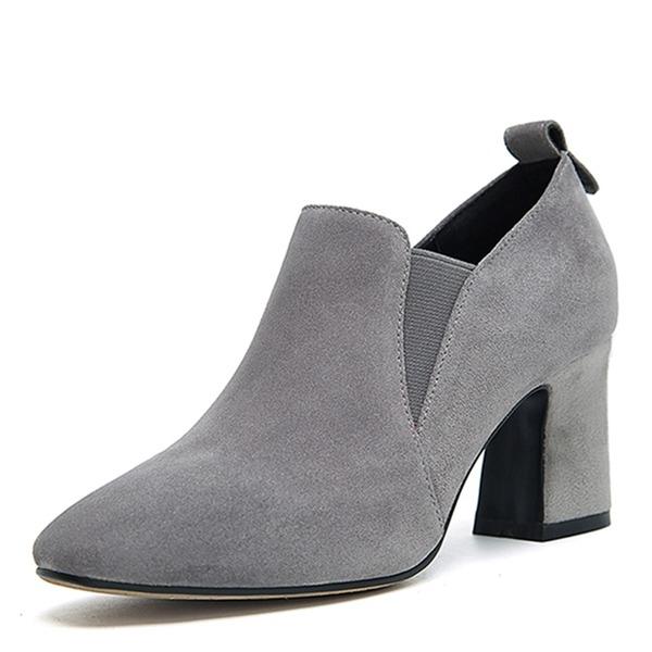 Frauen Veloursleder Stämmiger Absatz Absatzschuhe Geschlossene Zehe mit Gummiband Schuhe