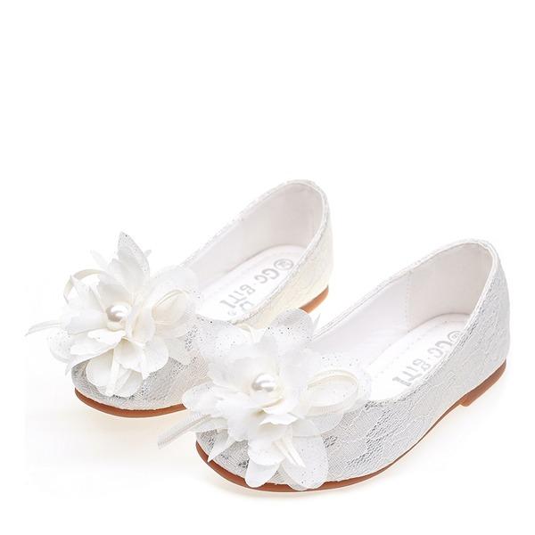 Mädchens Round Toe Geschlossene Zehe Seide wie Satin Flache Ferse Flache Schuhe Blumenmädchen Schuhe mit Satin Schleife