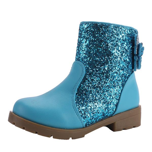 девичий Круглый носок Закрытый мыс Полусапоги дерматин низкий каблук На плокой подошве Ботинки Обувь для девочек с бантом Застежка-молния