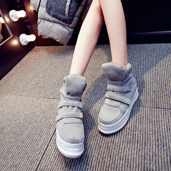 Donna Camoscio Zeppe Zeppe Stivali Stivali altezza media con Velcro scarpe
