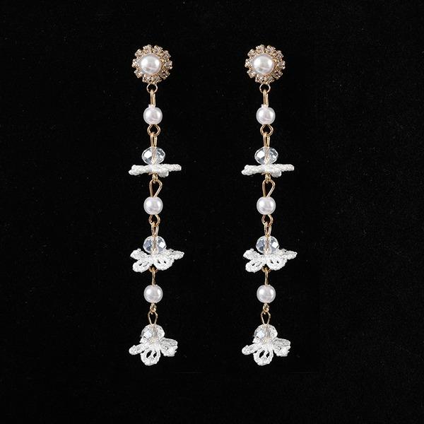 Schickes Legierung Strasssteine Faux-Perlen Spitze Frauen Art-Ohrringe