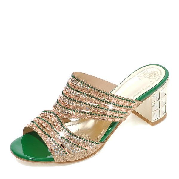 Mulheres Espumante Glitter Salto robusto Sandálias Bombas Peep toe Sapatos abertos Chinelos com Strass sapatos