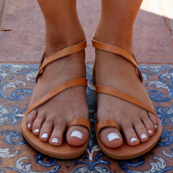 Dámské Koženka Placatý podpatek Sandály Byty Peep Toe obuv