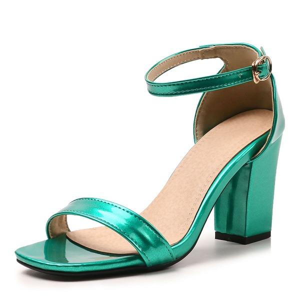 Mulheres Couro Brilhante Salto robusto Sandálias Bombas Peep toe com Fivela sapatos