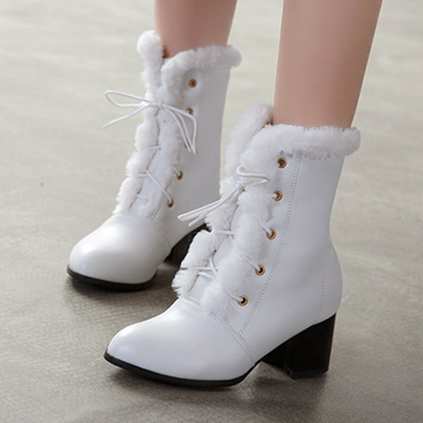 Femmes PU Talon stiletto Bottines Bottes mi-mollets avec Dentelle chaussures