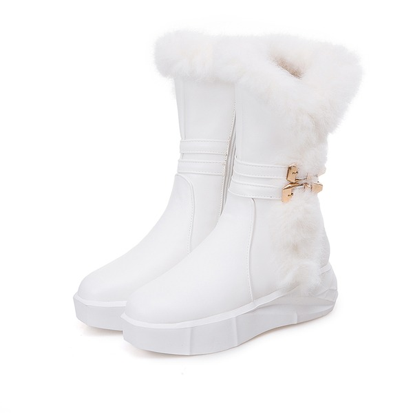 Mulheres Couro Sem salto Botas Botas de neve com Fivela Pele Sintetica sapatos