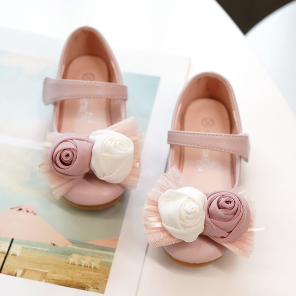 Girl's Peep Toe Microfiber Leather Flat Heel Flats With Velcro Flower