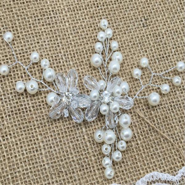 Kaunis Kristalli/Tekojalokivi/Valetaskua helmi Barrettes (Myyty yhtenä palana)