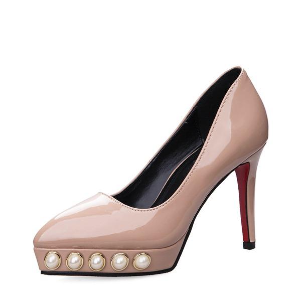 Kvinnor Konstläder Stilettklack Sandaler Pumps Stängt Toe med Oäkta Pearl skor