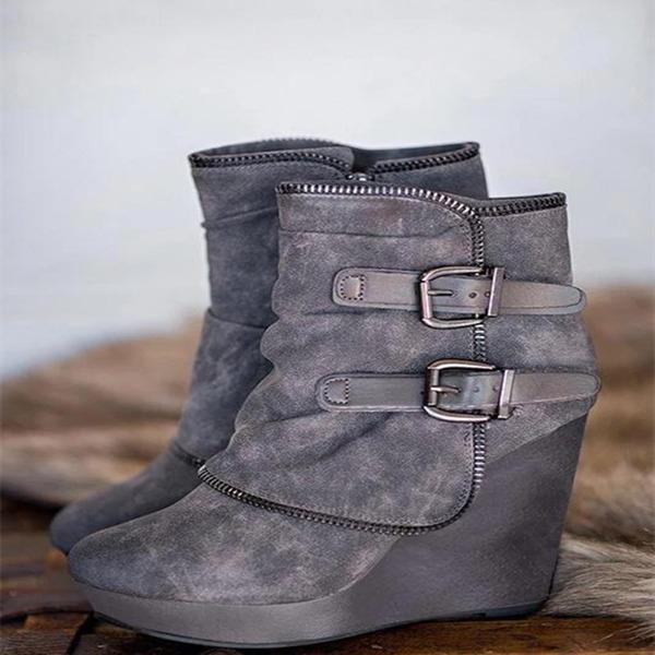 Kvinder Ruskind Kile Hæl Støvler med Lynlås sko