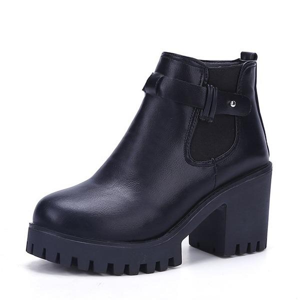 Femmes PU Talon bottier Escarpins Bout fermé Bottes Bottines avec Bande élastique chaussures