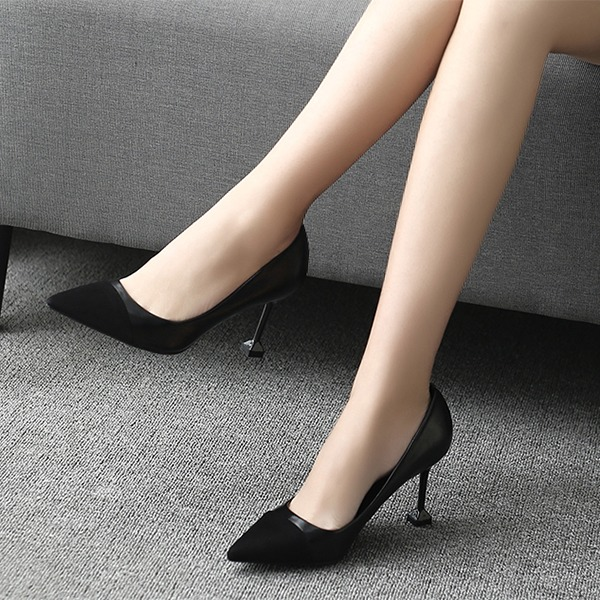 Women's PU Spool Heel Pumps Closed Toe With Split Joint shoes