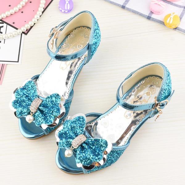 Flicka Peep Toe sparkling blänker låg klack Sandaler Flower Girl Shoes med Bowknot
