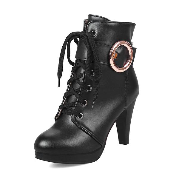 Donna Similpelle Tacco a spillo Piattaforma Stivali Stivali altezza media con Fibbia scarpe