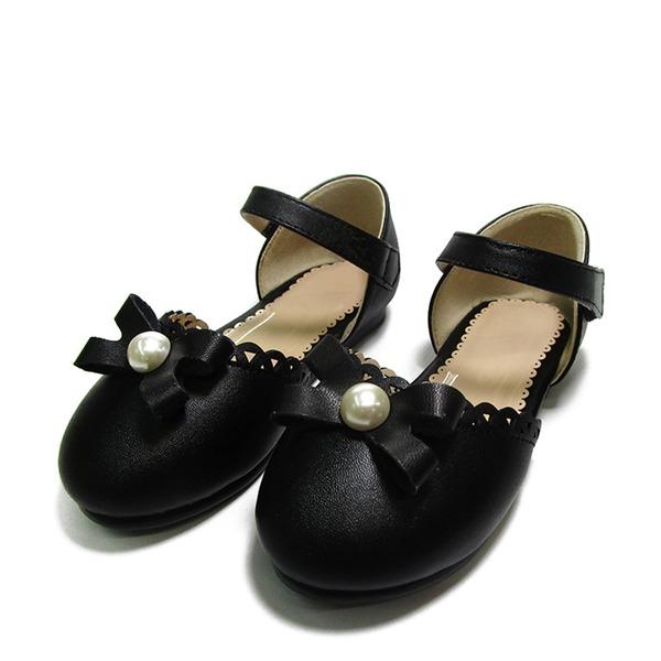 Fille de similicuir talon plat Bout fermé Chaussures plates avec Bowknot Perle d'imitation Velcro
