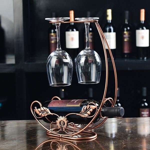 Floral Design Stainless Steel/Plating Bottle Holder / Wine Rack