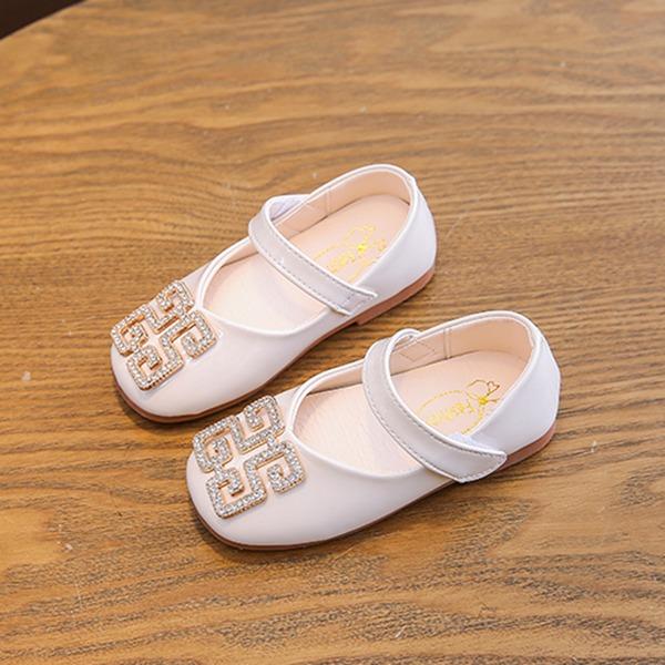 девичий Круглый носок Закрытый мыс дерматин Плоский каблук На плокой подошве Обувь для девочек с хрусталь