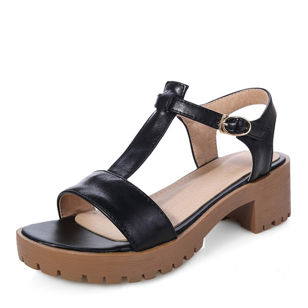 Mulheres PU Salto robusto Sandálias Bombas Plataforma Peep toe Sapatos abertos com Fivela sapatos