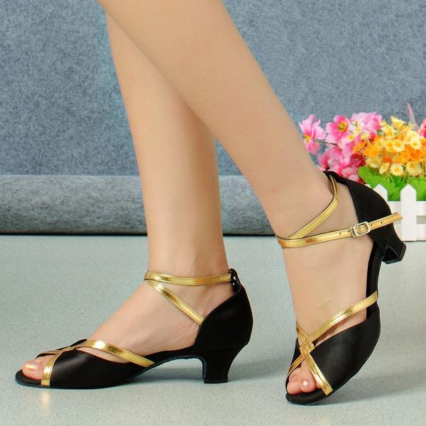 Kadın Saten Topuk Sandalet Latin Dans Ayakkabıları