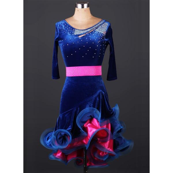 Женщины Одежда для танцев бархат Латино Балетное трико