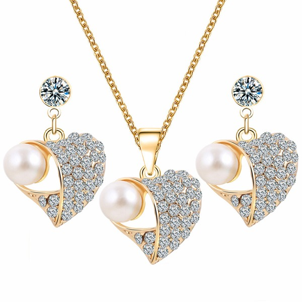 Exquisite Alloy Rhinestones Imitation Pearls With Imitation Pearl Ladies' Jewelry Sets
