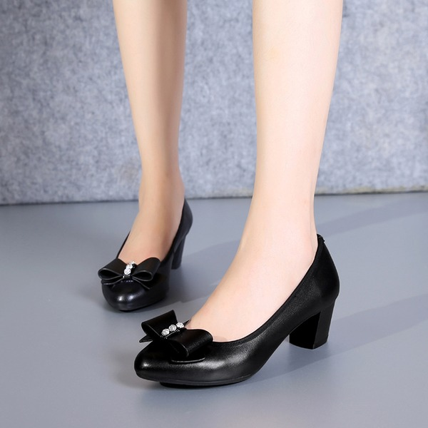Women's Real Leather Chunky Heel Pumps With Rhinestone Ribbon Tie shoes