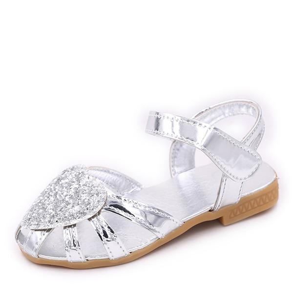 A menina de Toe rodada Fechados Glitter espumante Heel plana Sem salto Sapatas do florista com Velcro