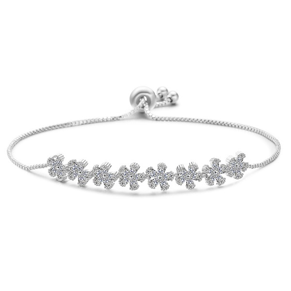 Blume Geformt Zirkon Kupfer mit Zirkon Mode Armbänder (Sold in a single piece)