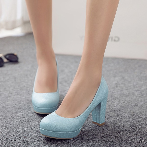 Women's PU Chunky Heel Pumps Platform With Others shoes