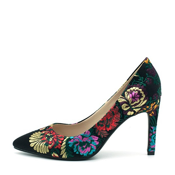 Women's Fabric Stiletto Heel Pumps Closed Toe With Applique shoes