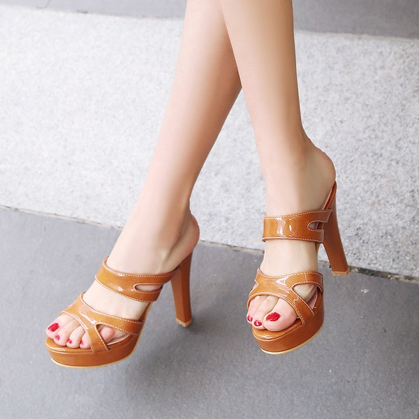 Women's PVC Chunky Heel Sandals Pumps Platform Peep Toe Slingbacks shoes