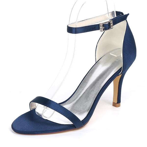 Women's Silk Like Satin Stiletto Heel Pumps Sandals With Buckle