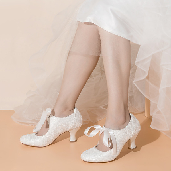 Women's Satin Fabric Chunky Heel Closed Toe With Braided Strap