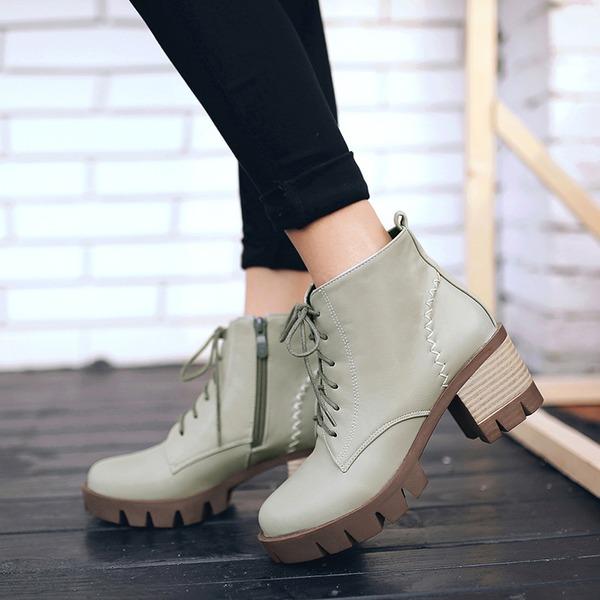 Mulheres Couro Salto robusto Bombas Botas Bota no tornozelo com Zíper Aplicação de renda sapatos