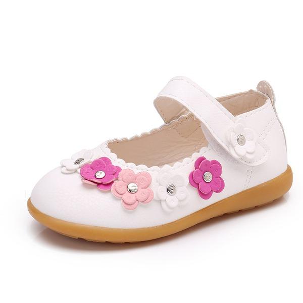 tytön Suljettu toe tekonahka Flat Heel Matalakorkoiset Flower Girl Kengät jossa Tarranauha Kukka Niitti